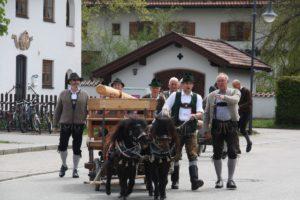 Schon die Lieferung des Maibaums mit einem Pferdewagen war für die Bewohner ein Erlebnis.